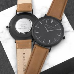 Men's Personalised Modern Watch With Black Face in Camel
