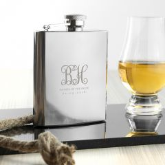 Personalised Monogrammed Stainless Steel Hip Flask