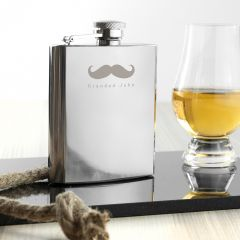 Personalised Moustache Design Hip Flask
