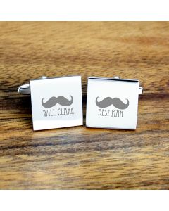 Personalised Best Man Moustache Cufflinks