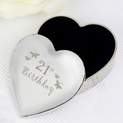 Happy 21st Butterflies Heart Shaped Trinket Box