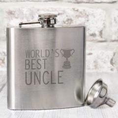 The Worlds Best Uncle Hip Flask