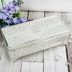 Personalised Antique Design Silver Plated Jewellery Box