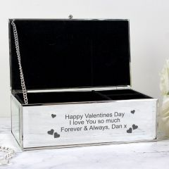 Personalised Hearts Design Mirrored Jewellery Box