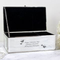 Personalised Butterflies Design Mirrored Jewellery Box