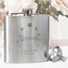 Personalised Stars Design Groom Hip Flask