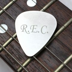 Personalised Initials Silver Guitar Plectrum