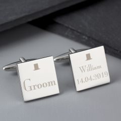 Personalised Wedding Design Groom Square Cufflinks