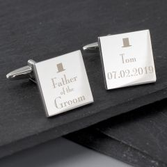 Personalised Wedding Design Father of the Groom Square Cufflinks