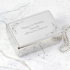 Personalised Swirl Design Rectangular Jewellery Box