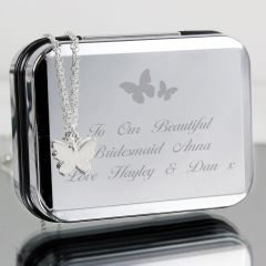 Personalised Butterfly Design Box and Butterfly Design Necklace
