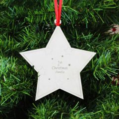 Personalised 1st Christmas Star Hanging Tree Decoration