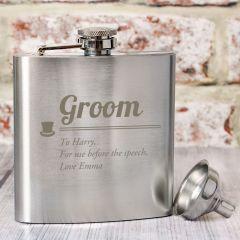 Personalised Groom Wedding Hip Flask