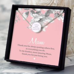 Personalised Mum Sentiment Silver Tone Necklace & Box Set