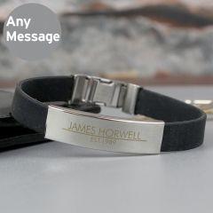 Personalised Classic Stainless Steel Man's Black Bracelet