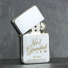 Personalised The No.1 Grandad Silver Lighter