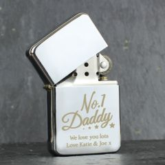 Personalised The No.1 Daddy Silver Lighter