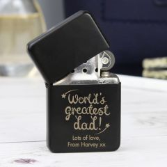 Personalised 'World's Greatest Dad' Black Design Lighter