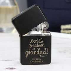 Personalised 'World's Greatest Grandad' Black Design Lighter