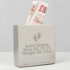 Personalised Footprint Square Design Money Box