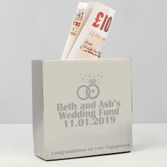 Personalised Rings Square Design Money Box
