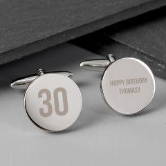 Personalised Birthday Big Age Design Round Cufflinks