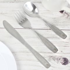 Personalised 3 Piece Fairy Stainless Steel Cutlery Set