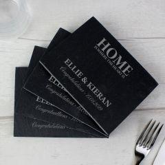 Personalised Home 4 Pack of Slate Coasters