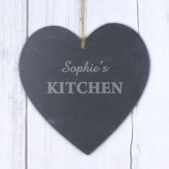 Personalised Kitchen Design Large Slate Heart Decoration