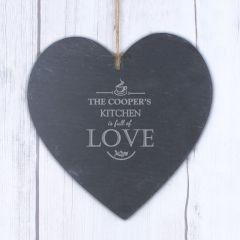 Personalised Full of Love Design Large Slate Heart Decoration