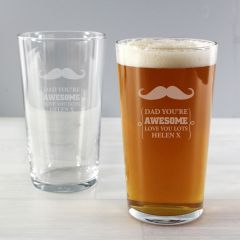 Personalised Moustache Design Pint Glass