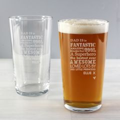 Personalised He is...Design Pint Glass