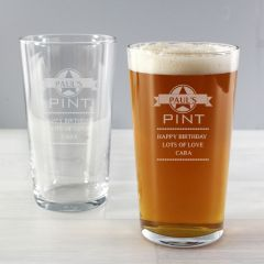 Personalised Diamond Design Pint Glass