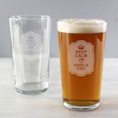 Personalised Keep Calm Design Pint Glass