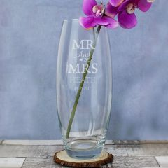 Personalised Mr & Mrs Glass Bullet Vase