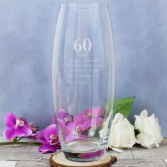 Personalised 60 Years Glass Bullet Vase