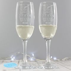 Personalised Me To You Engraved Wedding Pair of Champagne Champagne Flutes with Gift Box
