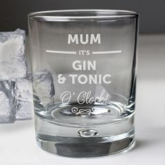 Personalised Its... OClock Tumbler Bubble Bottom Glass