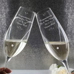 Personalised Hand Cut Little Hearts Pair of Champagne Champagne Flutes with Swarovski Elements with Gift Box