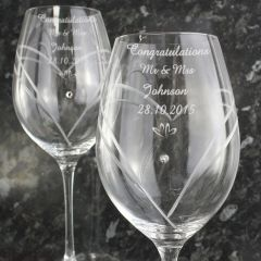 Personalised Hand Cut Swarovski & Little Heart Diamante Wine Glasses