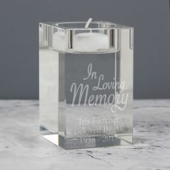 Personalised In Loving Memory Glass Tea Light Candle Holder Gift