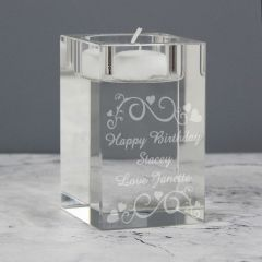Personalised Ornate Swirl Glass Tea Light Candle Holder Gift