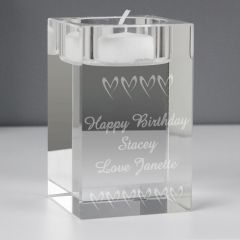 Personalised Small Hearts Glass Tea Light Candle Holder Gift