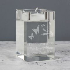 Personalised Butterfly Swirl Glass Tea Light Candle Holder Gift