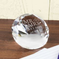 Personalised Mr & Mrs Diamond Shaped Paperweight
