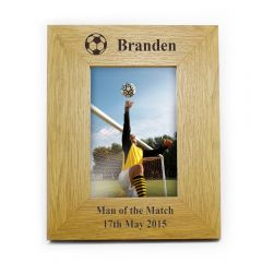 Personalised Oak Finish Football Photo Frame 6x4