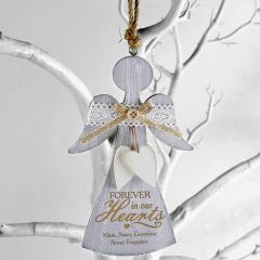 In Loving Memory Personalised Wooden Angel Decoration