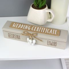 Personalised Rustic Wooden Wedding Certificate Holder