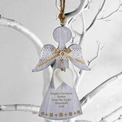 Personalised Snowflake Wooden Angel Decoration