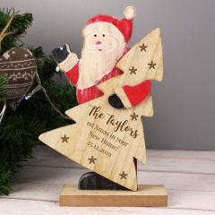 Personalised Snowflake Wooden Santa Decoration